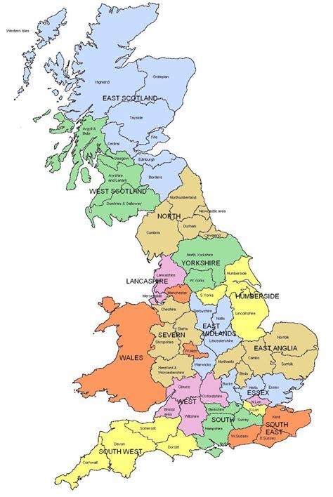 regions  england map