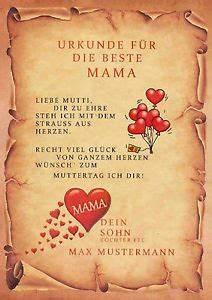 Muttertagsgeschenk Urkunde Zum Muttertag Danksagung Beste