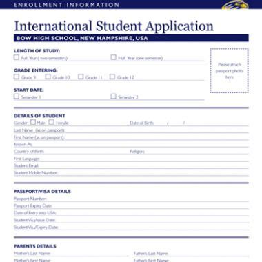 Sle Applications For High School Students by Bow High School International Students Apply