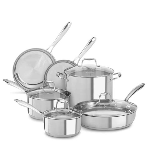pots and pans new kitchenaid stainless steel 10 cookware pots and pans set kcss10ls ebay