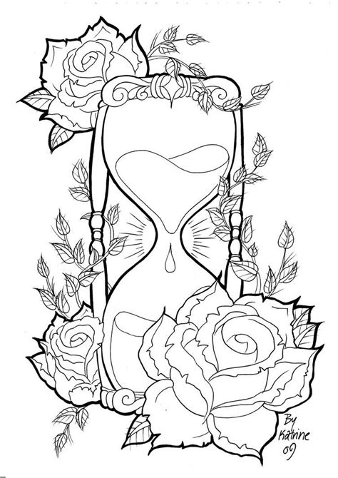 rose tattoo designs | Hourglass by ~Koyasan on deviantART | Skull coloring pages, Coloring pages