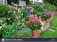 Colourful garden terrace with mixed flower beds and