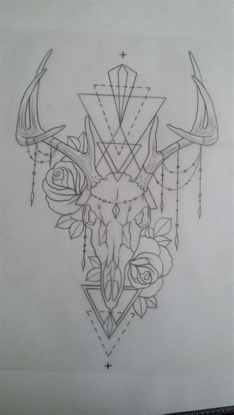 tattoo deer skull antler roses chains tattoo art