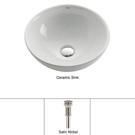 bathroom sink drain home depot kraus soft round ceramic vessel bathroom sink in white