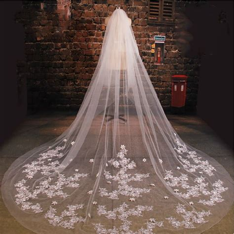 Cathedral Wedding Veil With Comb 3m Long Lace Mantilla