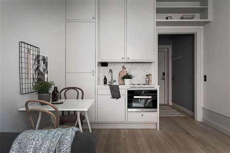Tiny Scandinavian Studio Loft by Tiny Kitchen In A Scandinavian Studio Apartment Kitchen