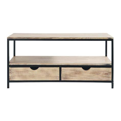 fly canape angle meuble tv indus en métal et bois massif noir l 117 cm