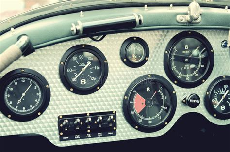 Retro Car Dashboard With Gauges Stock Photo