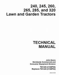 John Deere 240 245 260 265 285 320 Lawn Garden Tractors