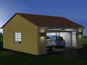 plan garage double 1 pente maison francois fabie With construire un garage cout