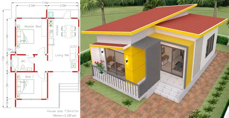 Small House Plans 7 5×11 With 2 Bedrooms Full Plans