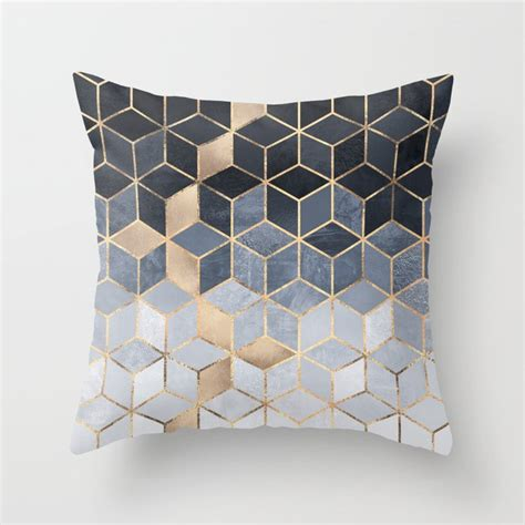 Soft Blue Gradient Cubes Throw Pillow by