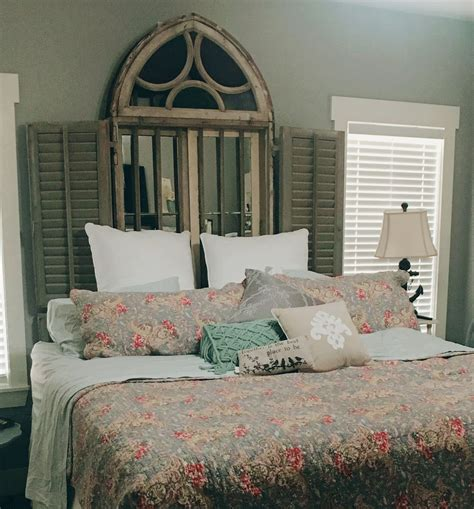 Nice Looking French Antique Headboards Louvered Door