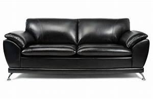 Canapé New York : canap 3 places noir cuir de buffle new york miliboo ~ Teatrodelosmanantiales.com Idées de Décoration