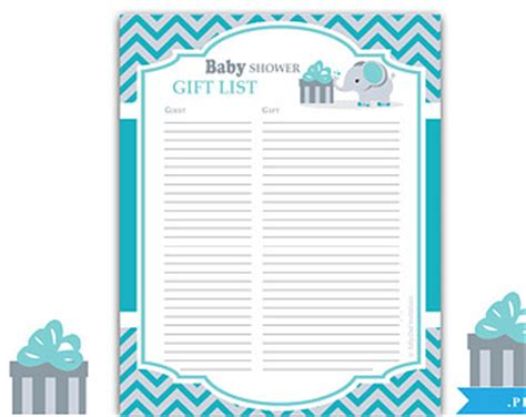 baby shower registries boy elephant guest gift list guest sign in sheet card