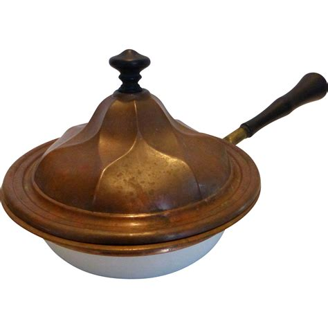 antique enamel pan molded copper lid  wood handle rare