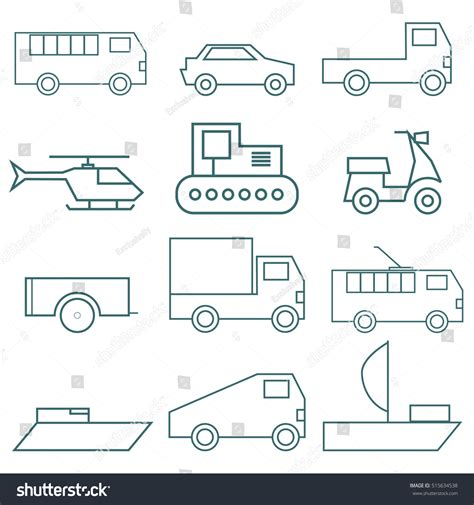 Set Vector Logos Types Vehicles Stock Vector 515634538