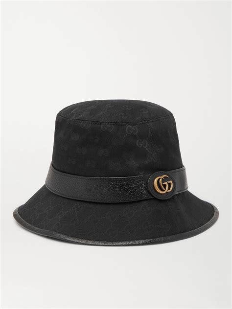 black leather trimmed monogrammed canvas bucket hat