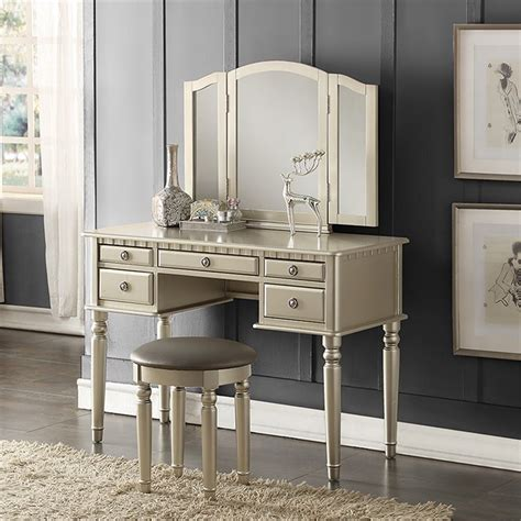 bobkona st croix collection vanity set with stool white poundex bobkona st croix vantiy set with stool in silver