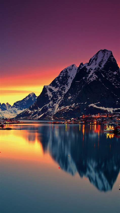 mountain lofoten norway sky sea lofoten islands iphone