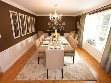 brown traditional dining room  white wainscoting hgtv