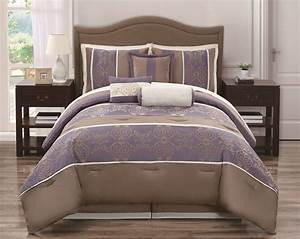 Silver, Lavender, And, Tan, Bedroom