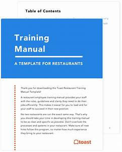 Restaurant Training Manual Template