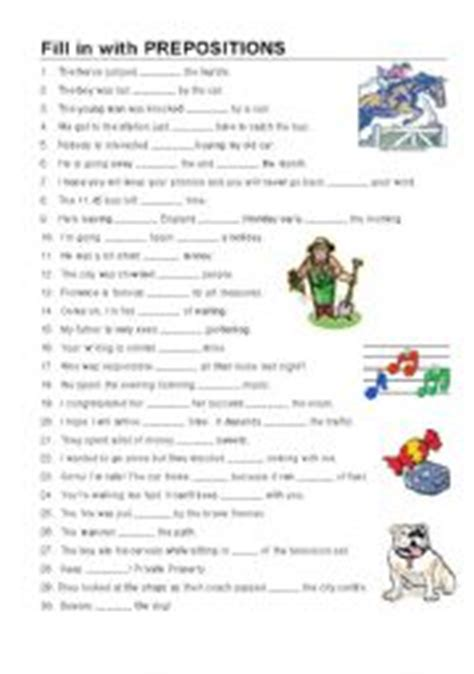 English Worksheets Fill In With Prepositions