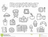 Breakfast Coloring Outline Doodle Drawn Template Hand Illustration Vector sketch template