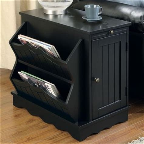 black accent chairside pull  cabinet table