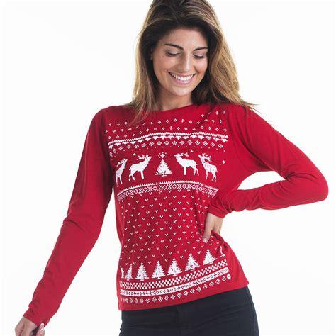 women reindeer christmas jumper style longsleeve tshirt by