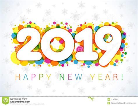 2019 Happy New Year Xmas Greetings. Stock Vector