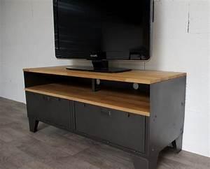 Meuble Tv Industrielle : meuble tv m tal et bois 120cm industriel restaur ~ Nature-et-papiers.com Idées de Décoration