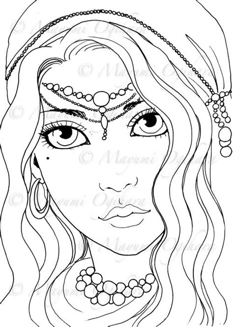 Gypsy Girl digital stamp colouring page printable instant