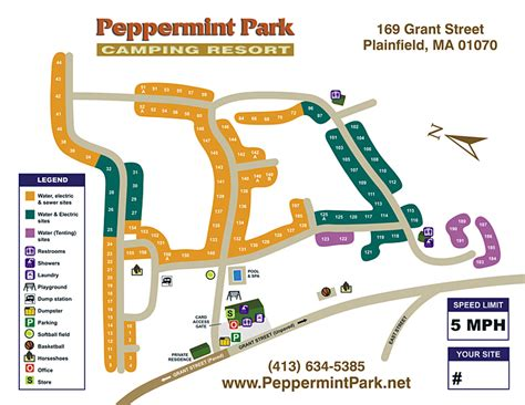 Peppermint Park Camping Resort  Site Map & Rules
