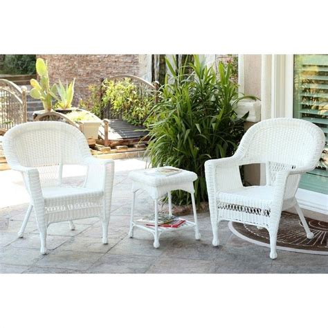 jeco 3 wicker conversation set in white without