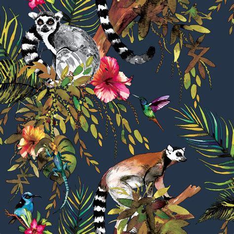 lemur  albany navy wallpaper direct