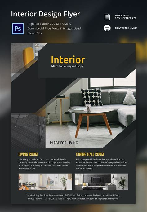 25 Free Printable Brochure Templates In Psd Eps Ai Interior Design Brochure Template Free Brochures Templates