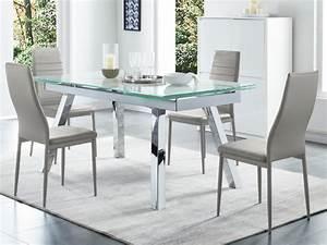 Table à Manger Extensible : table manger extensible verre tremp effet marbre servane ~ Teatrodelosmanantiales.com Idées de Décoration