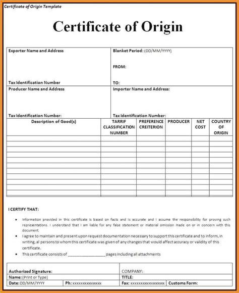 certificate  origin template uk generic certificate