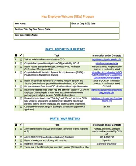 sle new employee checklist 20 free documents in pdf word excel