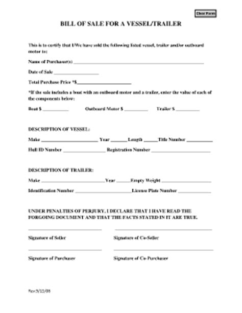 Boat Trailer Rental Columbia Sc by Free Printable Bill Of Sale For Rv Form Generic