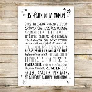 Affiche Les Regles De La Maison : affiche les r gles de la maison n b ~ Melissatoandfro.com Idées de Décoration