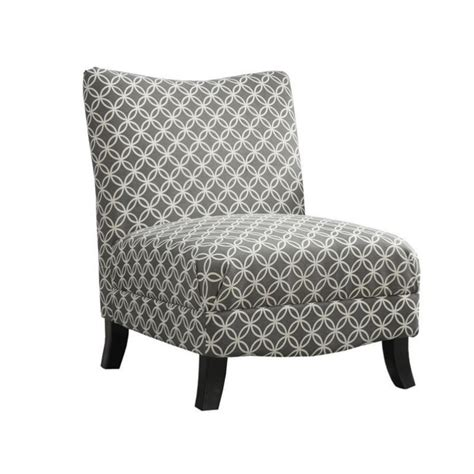 circular fabric accent slipper chair in gray geometric