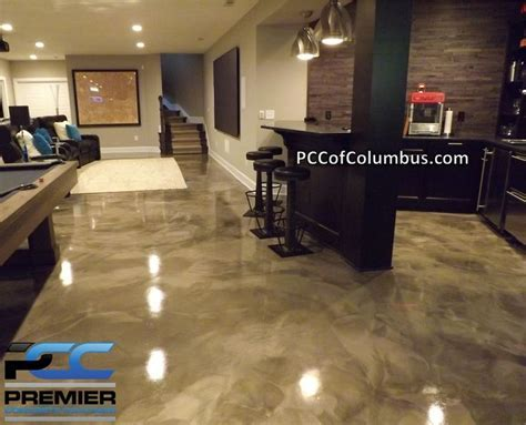 Basement Flooring   Metallic Epoxy Finish, Stained