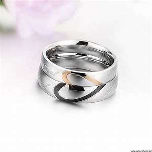 his and her love heart stainless steel couple ring f With wedding bands couple rings