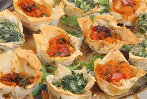 filo pastry cases canapes mediterranean filo pastry canapes stock image image 17901779