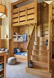 Rustic, Bedroom, With, Cabin, And, Two, Bunk, Beds, Thewowdecor, In