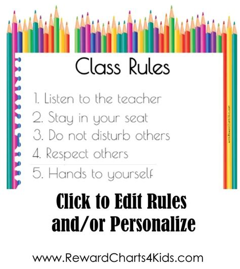 Free Editable Classroom Rules Poster
