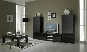 meuble tv design laque noir solene meubles tv hifi video With meuble noir laqu